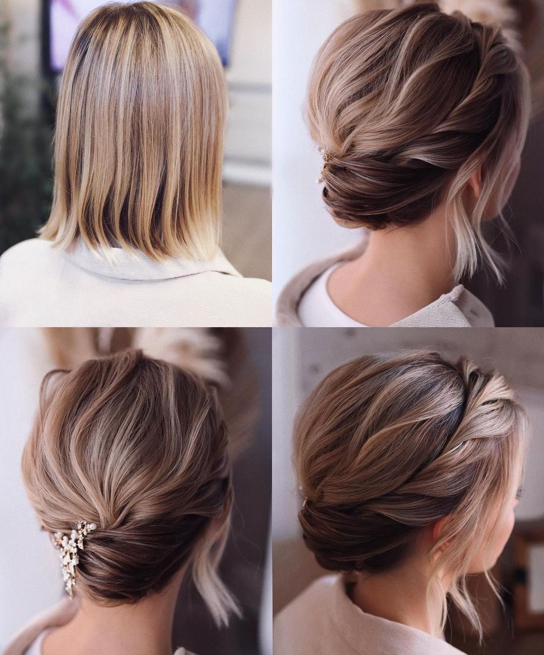 Simple Wedding Updo for Short-Length Hair
