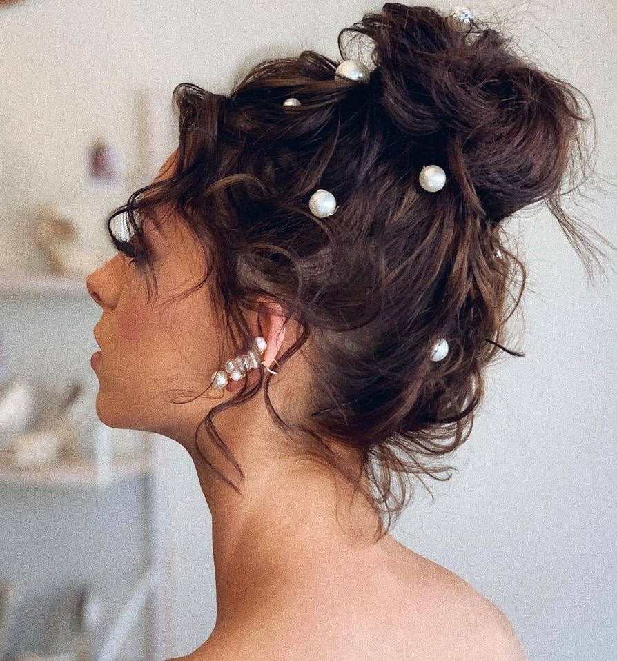 High Messy Bun with Pearls for Wedding