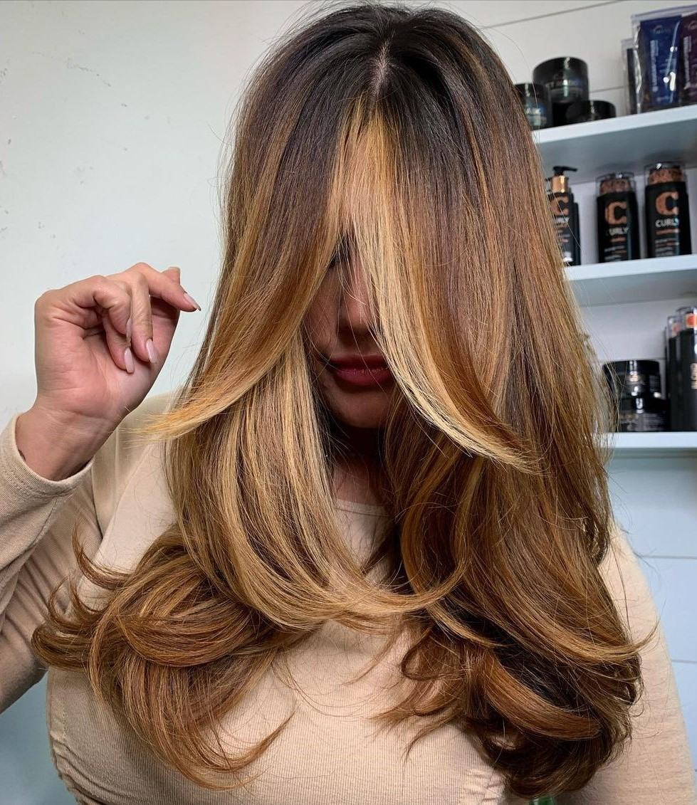 Rich Golden Brown Balayage for Brunette Hair