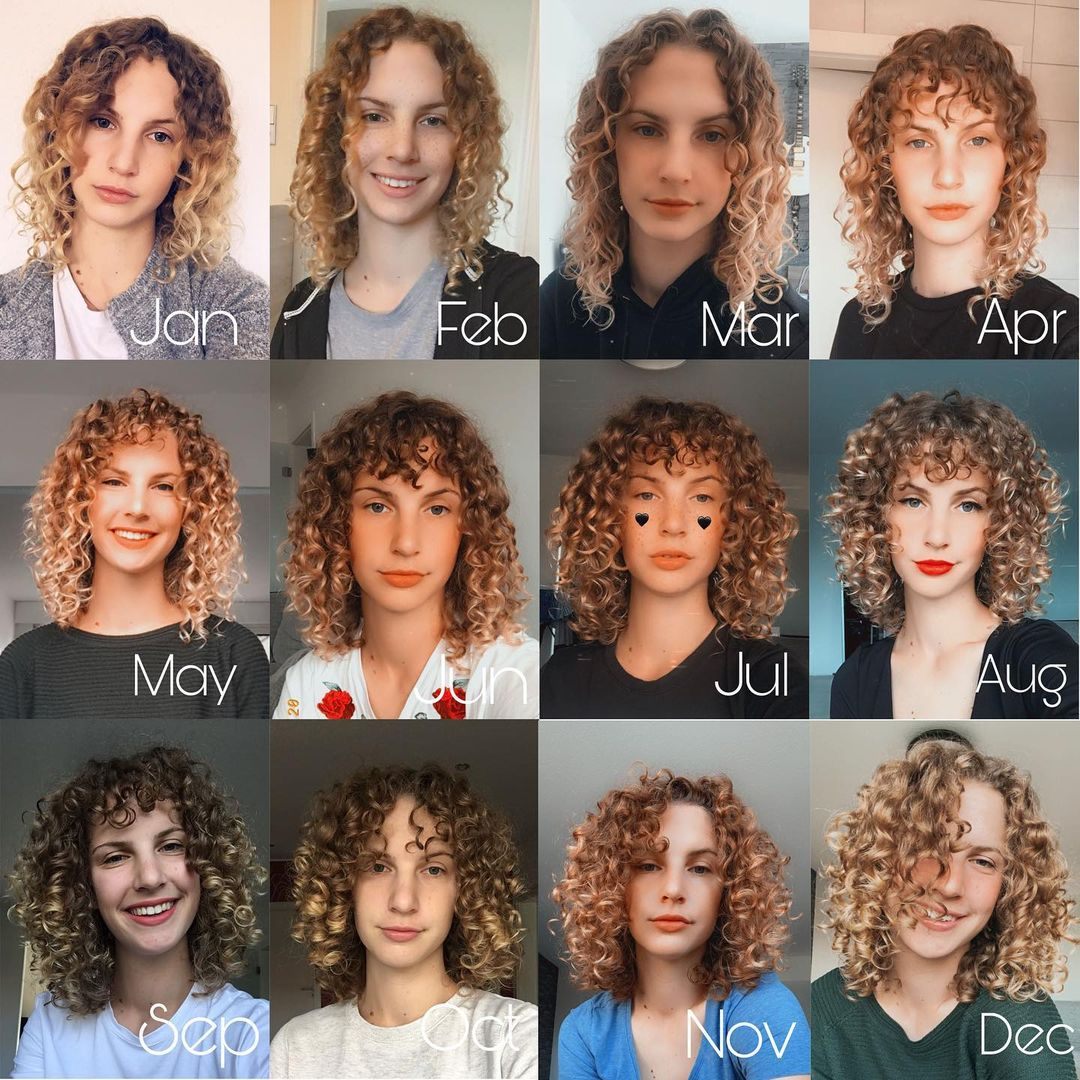 Wavy Curly Girl Hair Transformation in One Year Before-After Photo