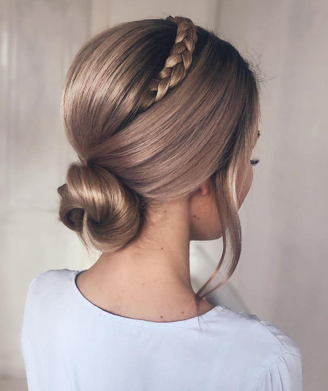 Bun Updo with a Braid for Medium Hair
