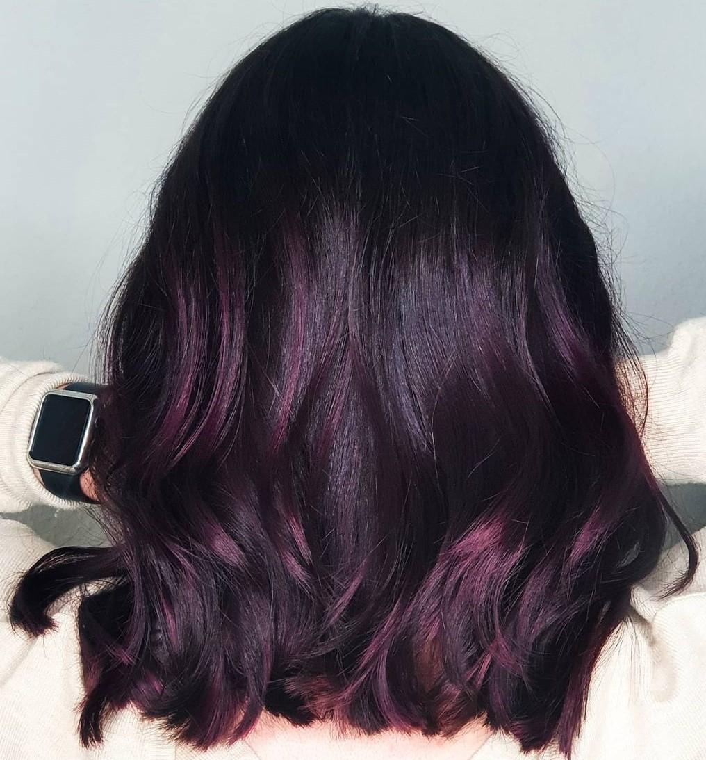 Dark Plum Hair with Highlights