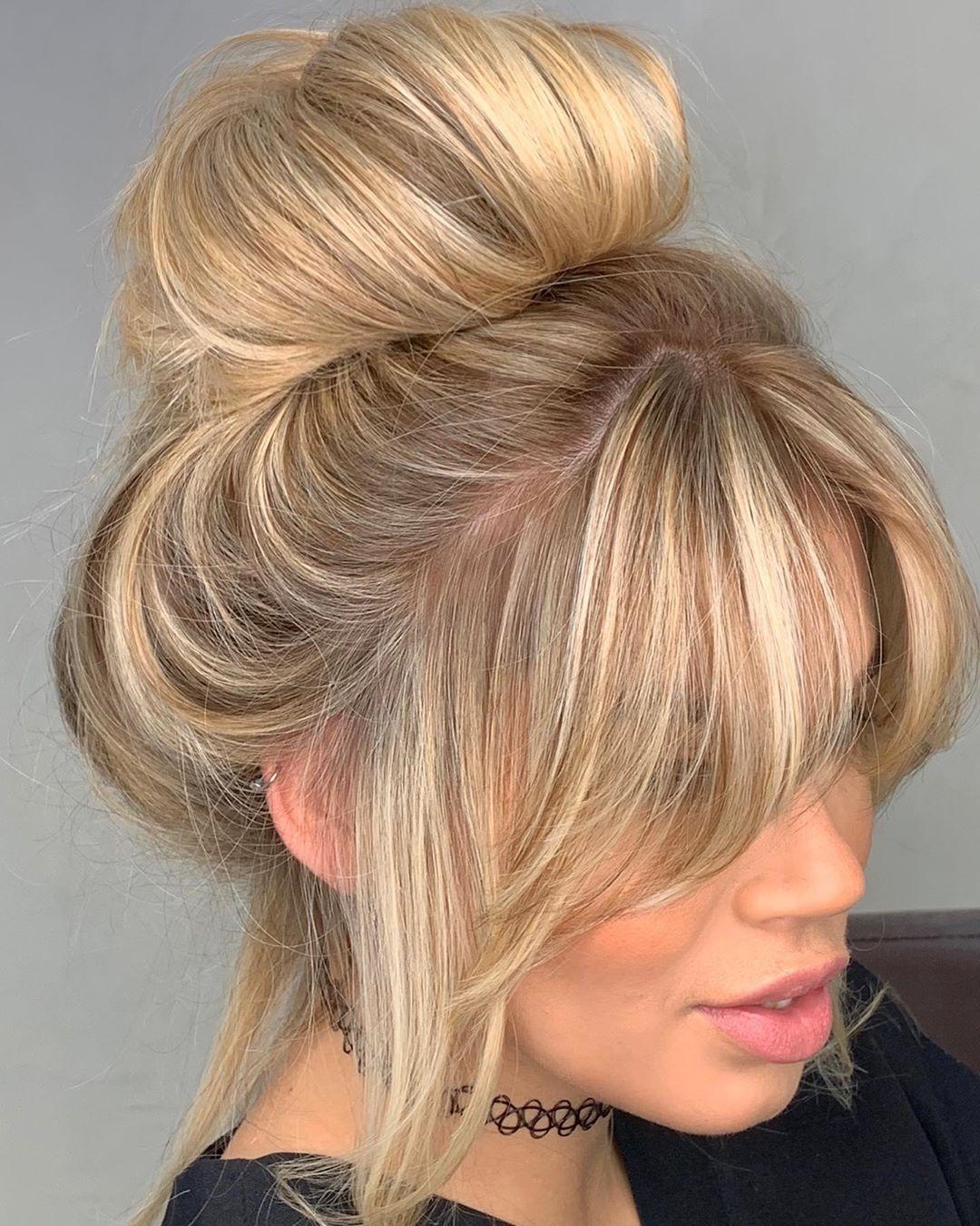 Blonde Donut Bun with Bangs