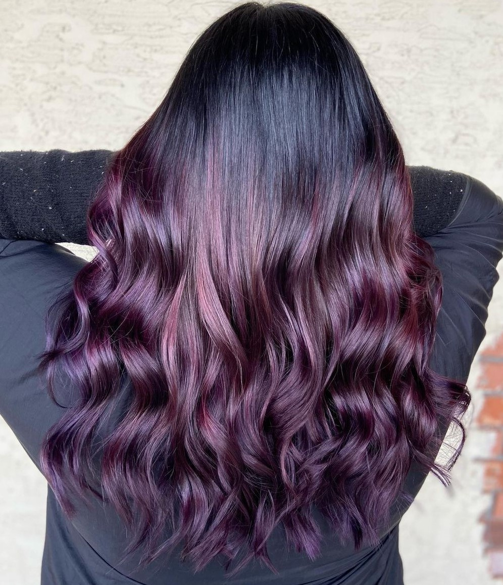 Brunette Plum Balayage with Highlights