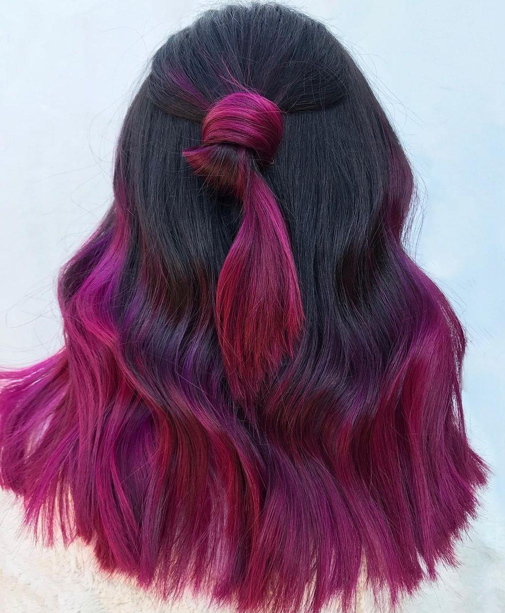 Black Hair with Fuchsia Ends