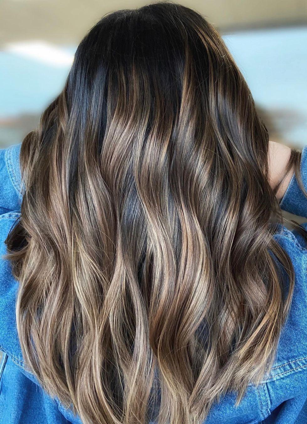 Ash Brown Highlights for Dark Hair