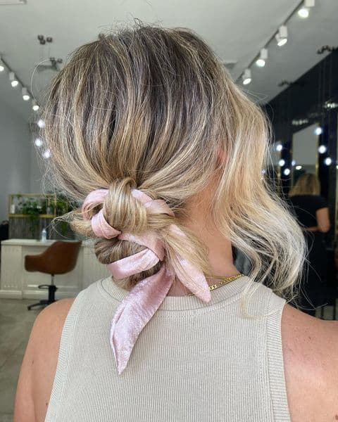Low Bun Hairstyle with an Accent