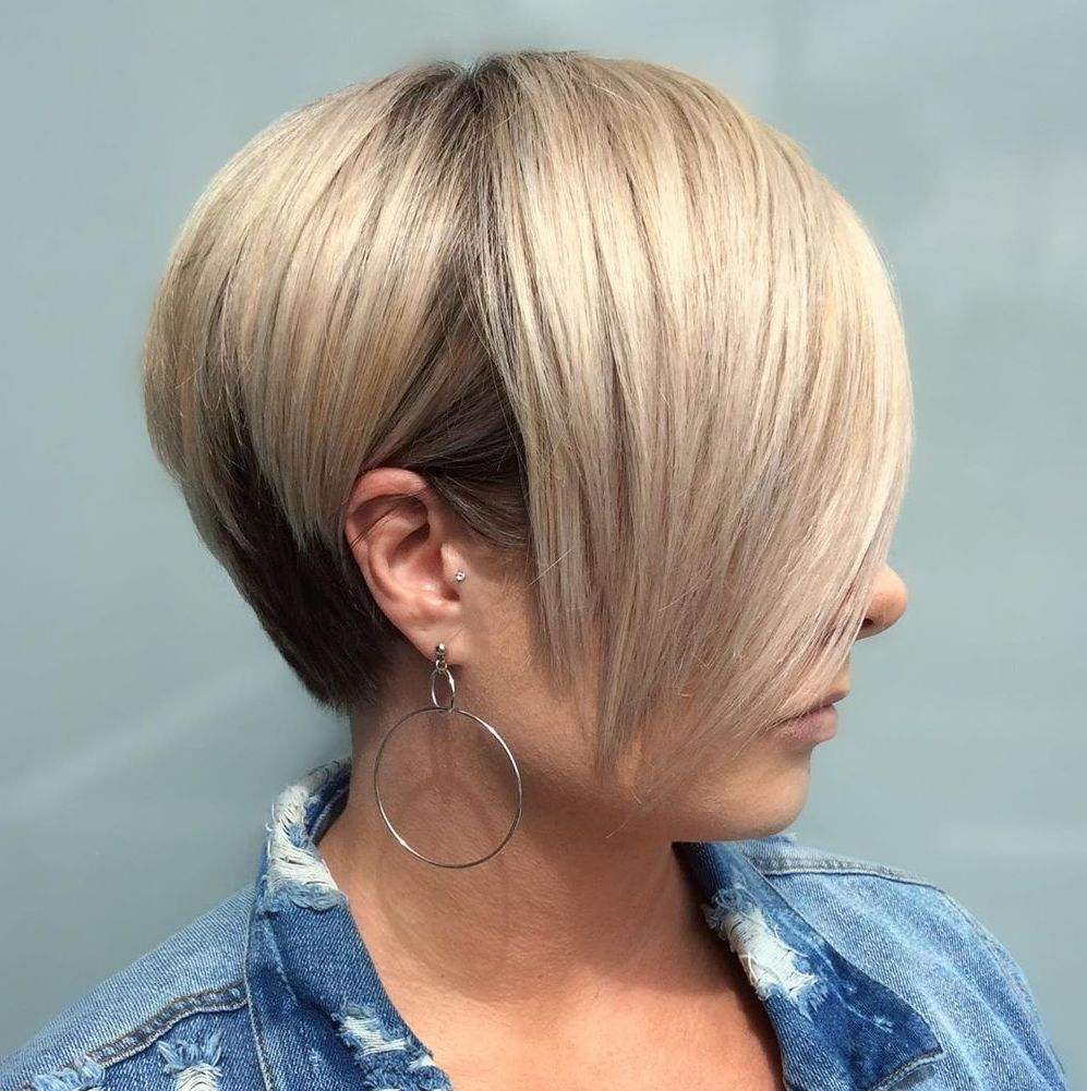 Two-Tone Blonde and Brown Pixie with Bangs