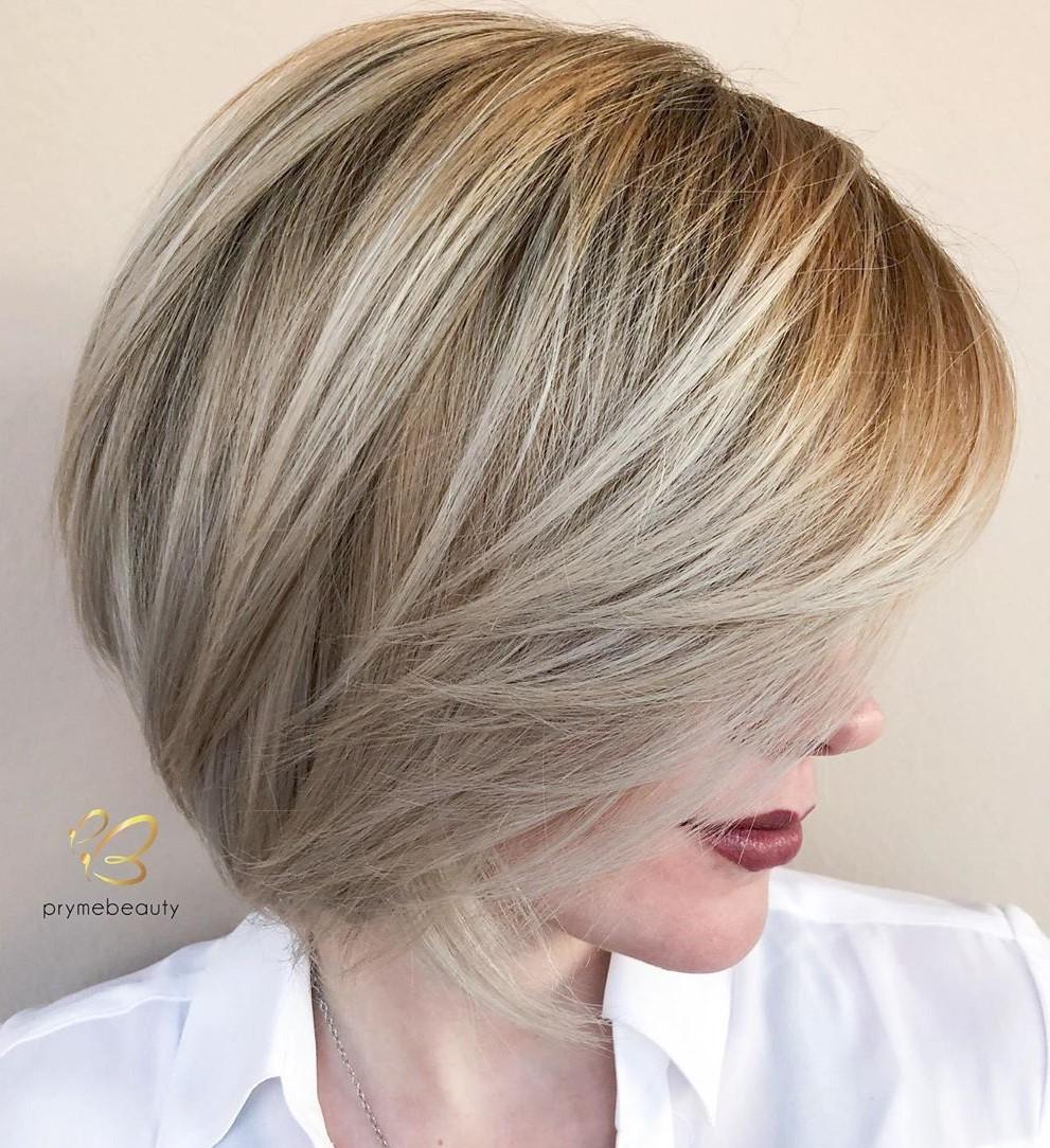 Short Blonde Hair with a Side Fringe