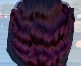 Bright Plum Hair with Dark Roots
