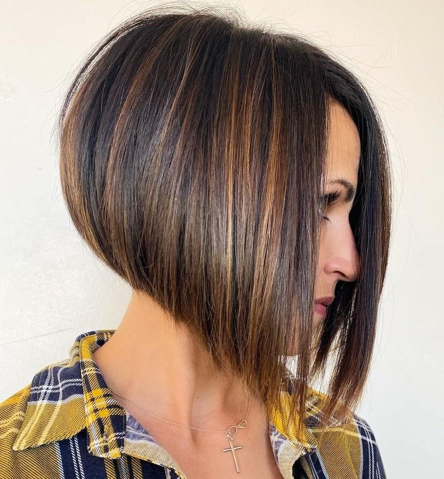 Brunette Balayage for Short Straight Hair