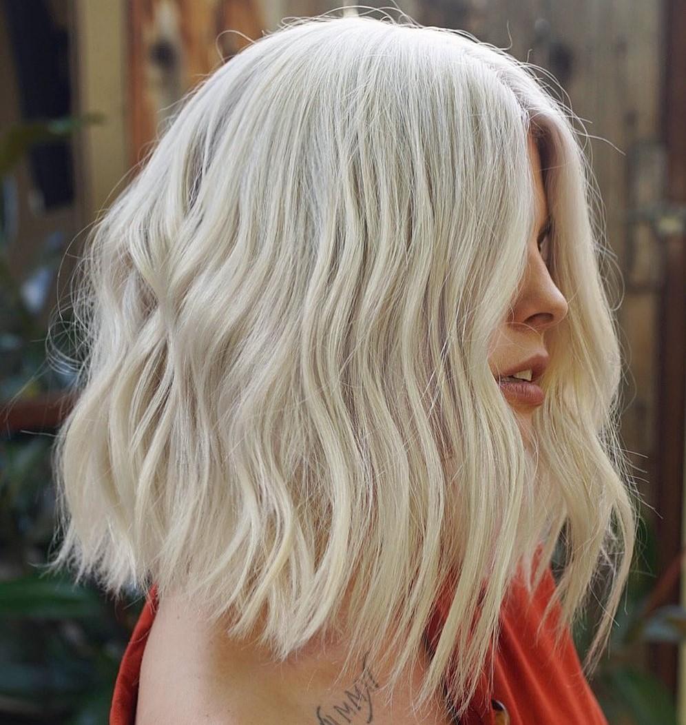Short to Medium White Blonde Hair