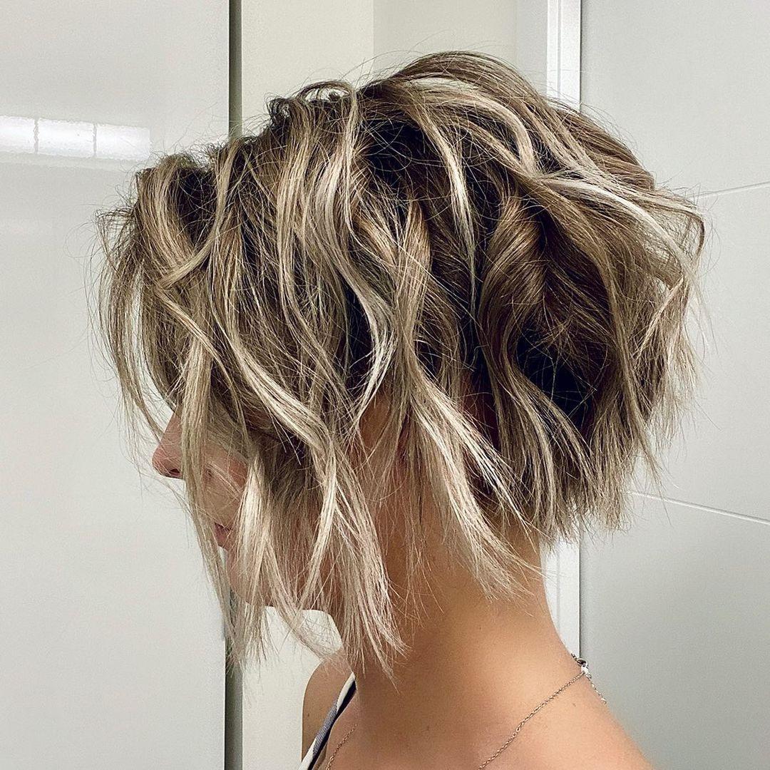 Short Messy Hair with Blonde Balayage