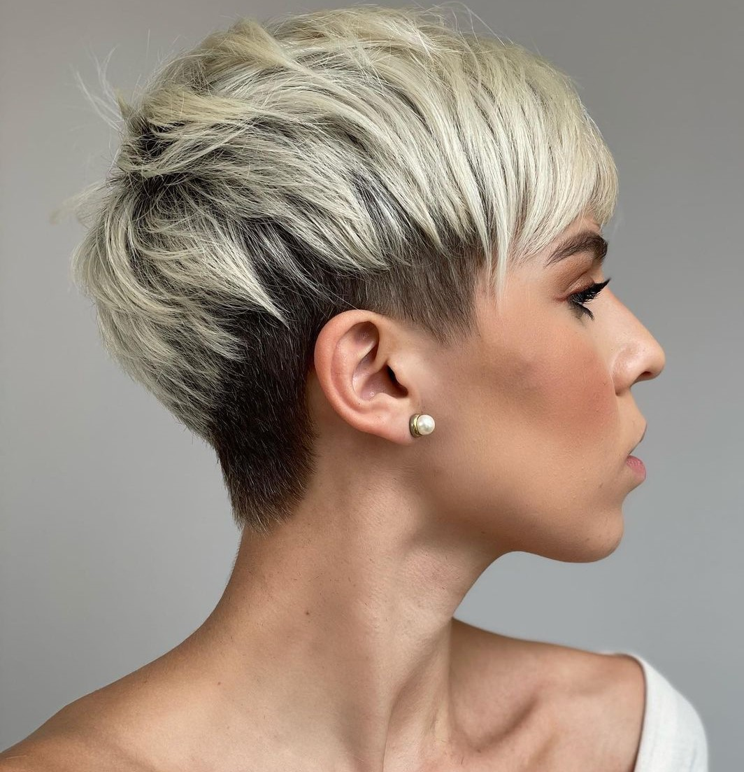 Short Undercut Hair with Shadow Root