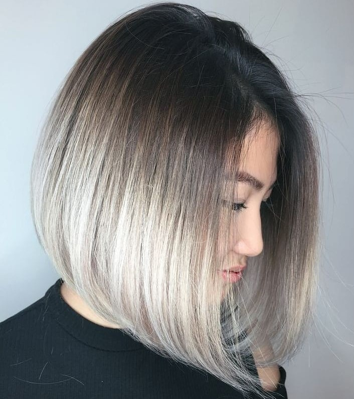 Ash Blonde Bob with Shadow Roots