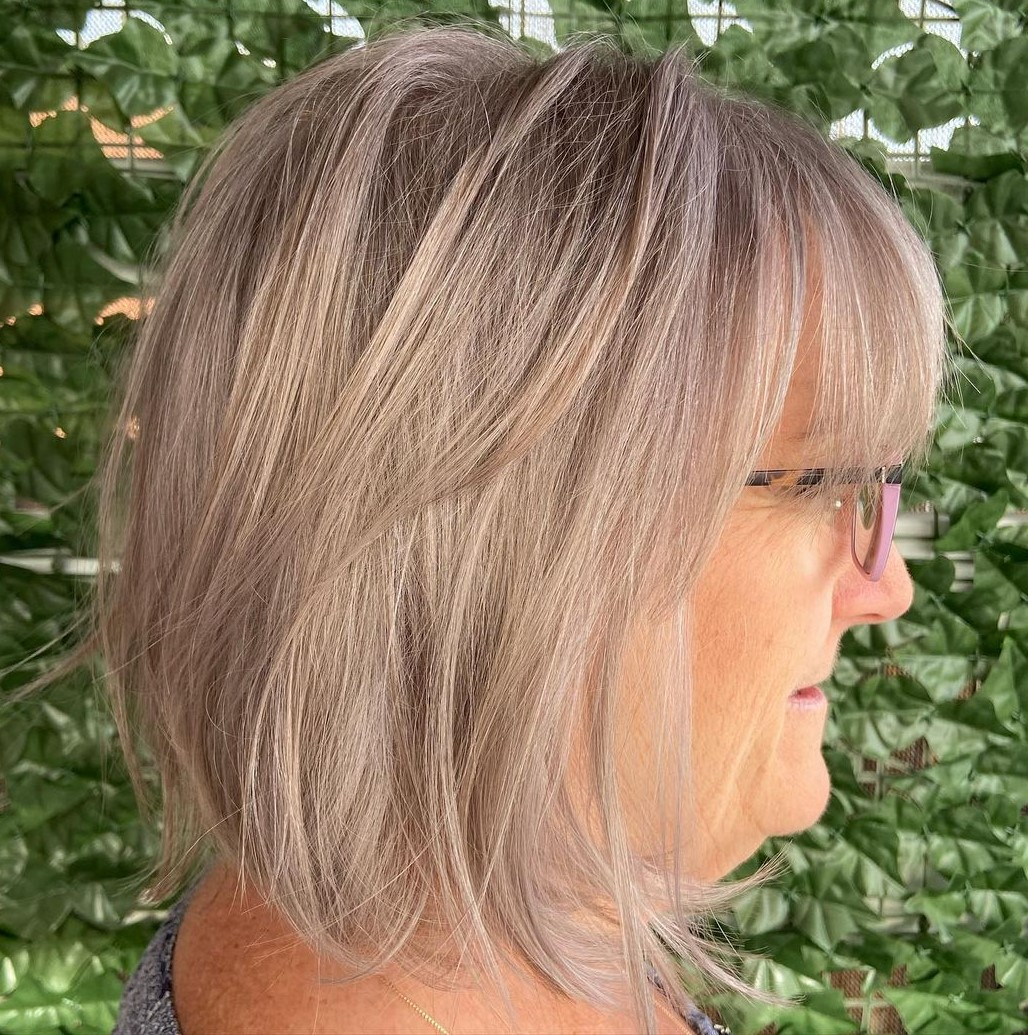 Over 50 Wispy Short Bob with Glasses