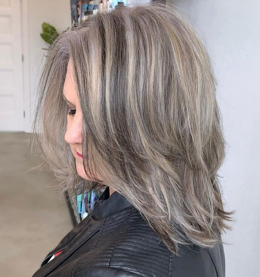 Over 40 Medium Ash Hairstyle with Lowlights