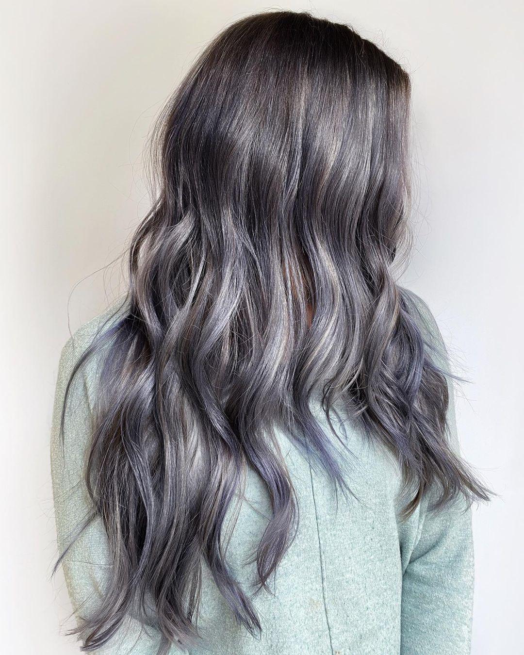 Sophisticated Gray Babylights for Brunettes