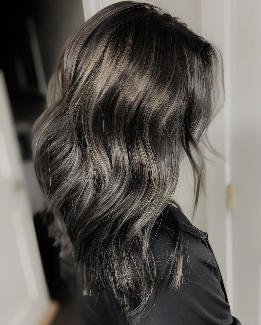 Black Hair with Gray Babylights