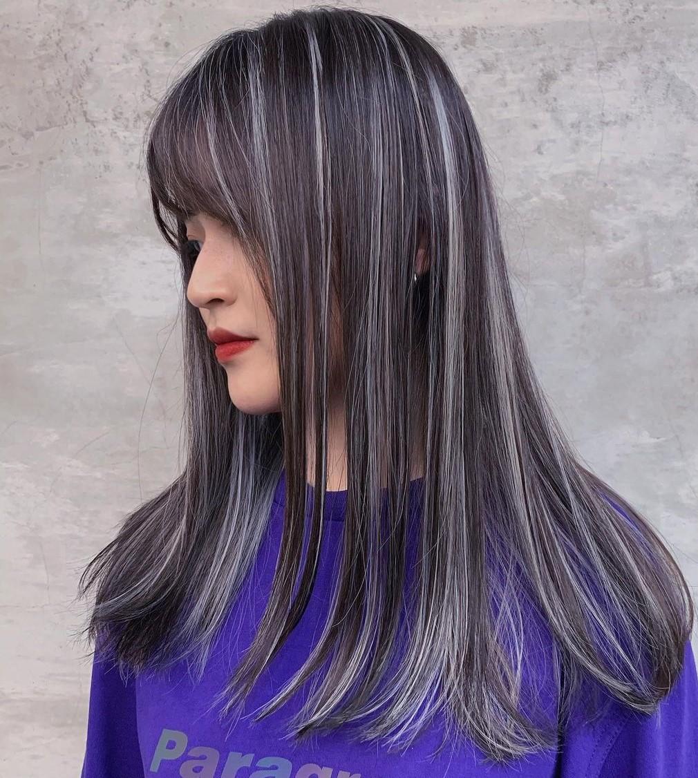 Straight Dark Hair with Gray Streaks