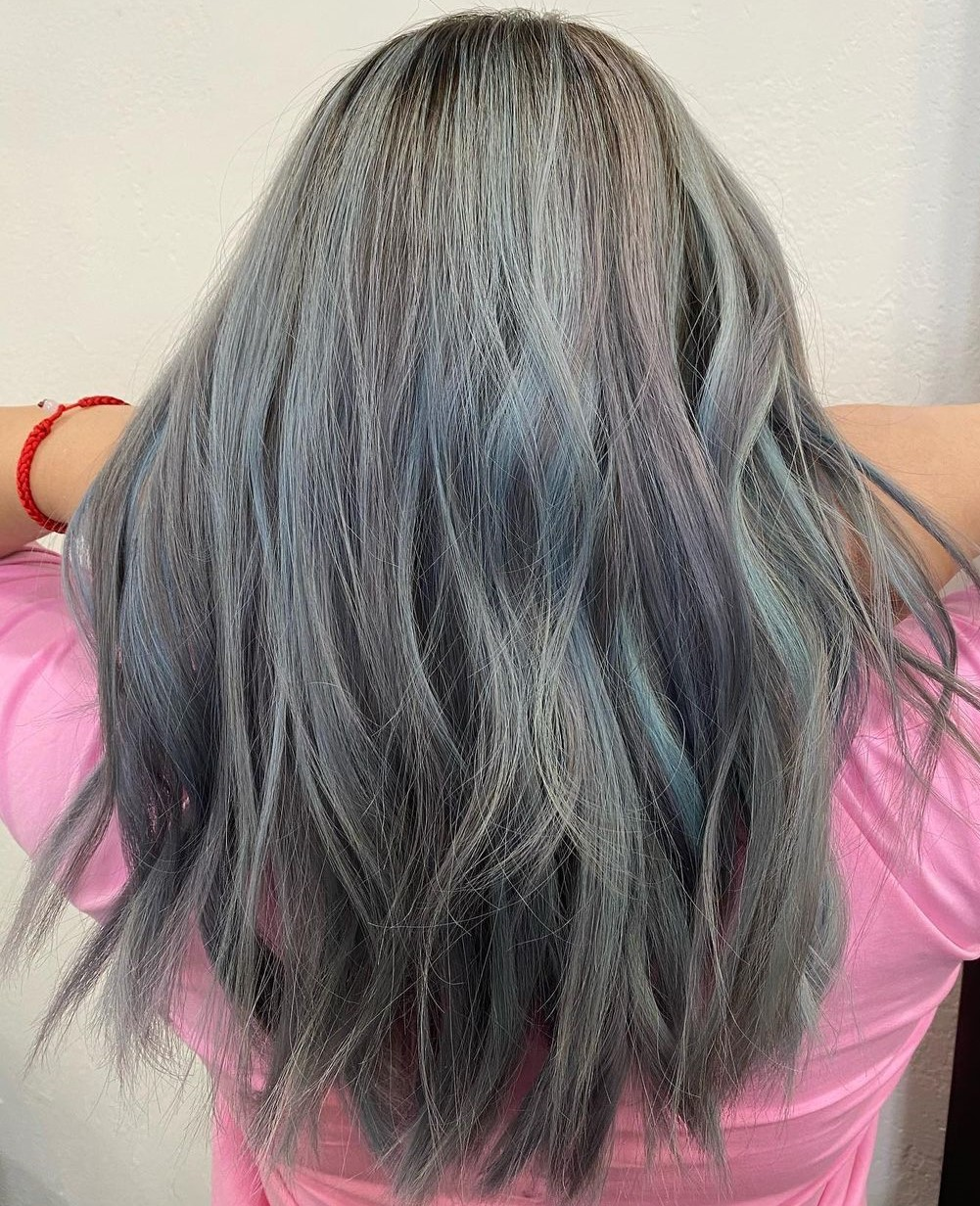 Pastel Blue Highlights for Gray Hair