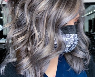 Balayage with Blonde and Gray Highlights