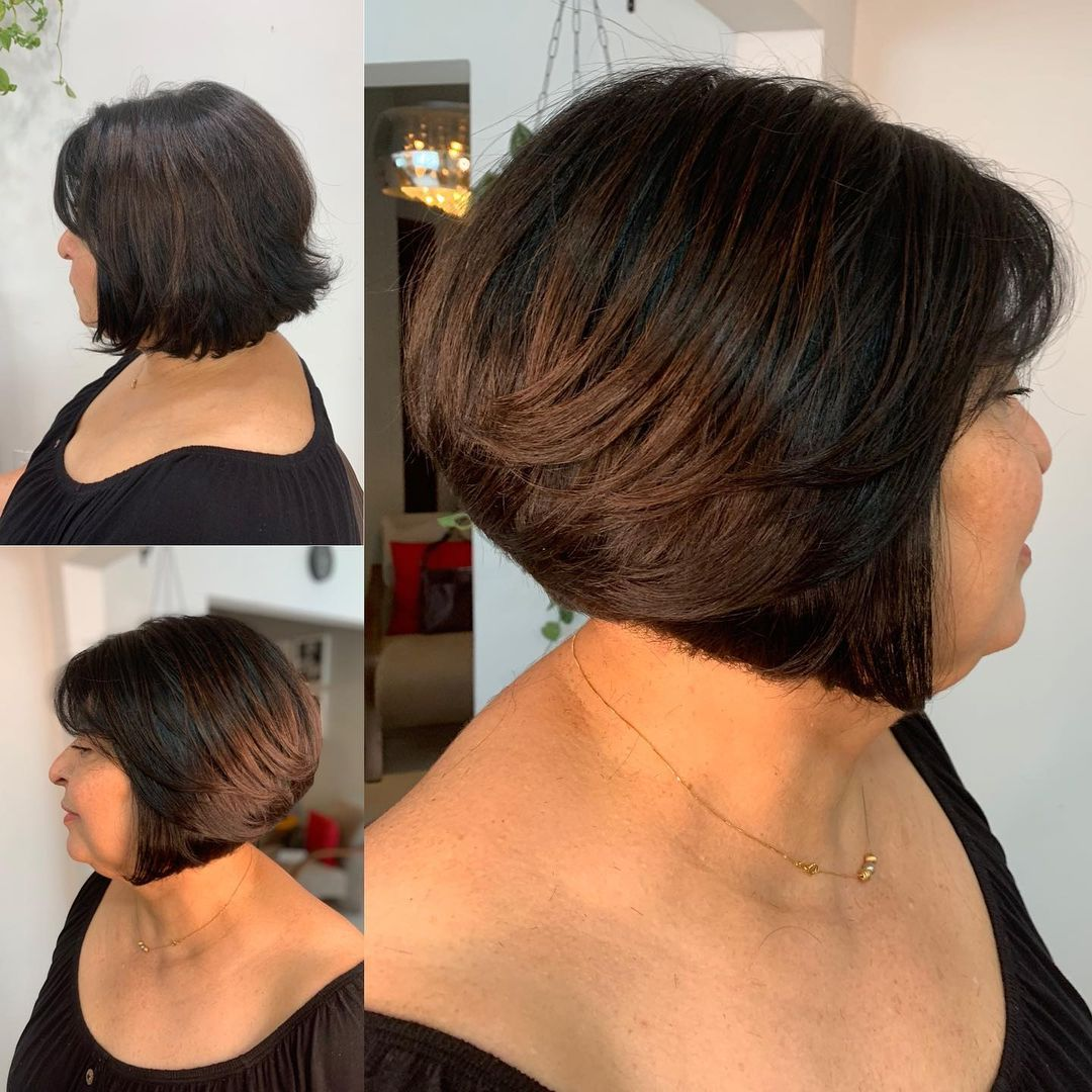 Short Bob for a Full Face and Double Chin