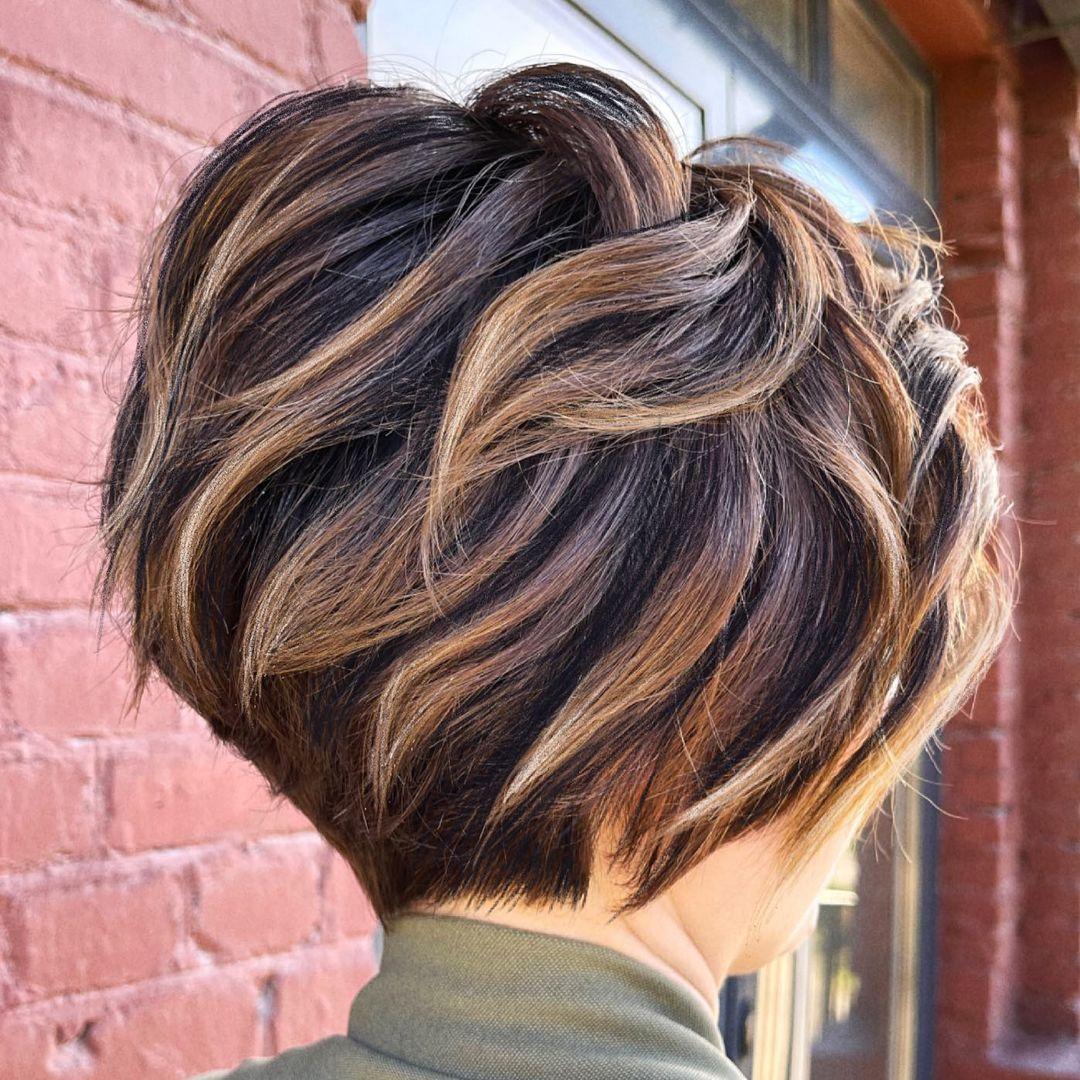 Honey Blonde Highlights on Short Brown Hair