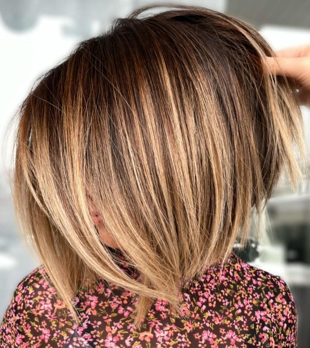 Short Hair with Caramel Highlights