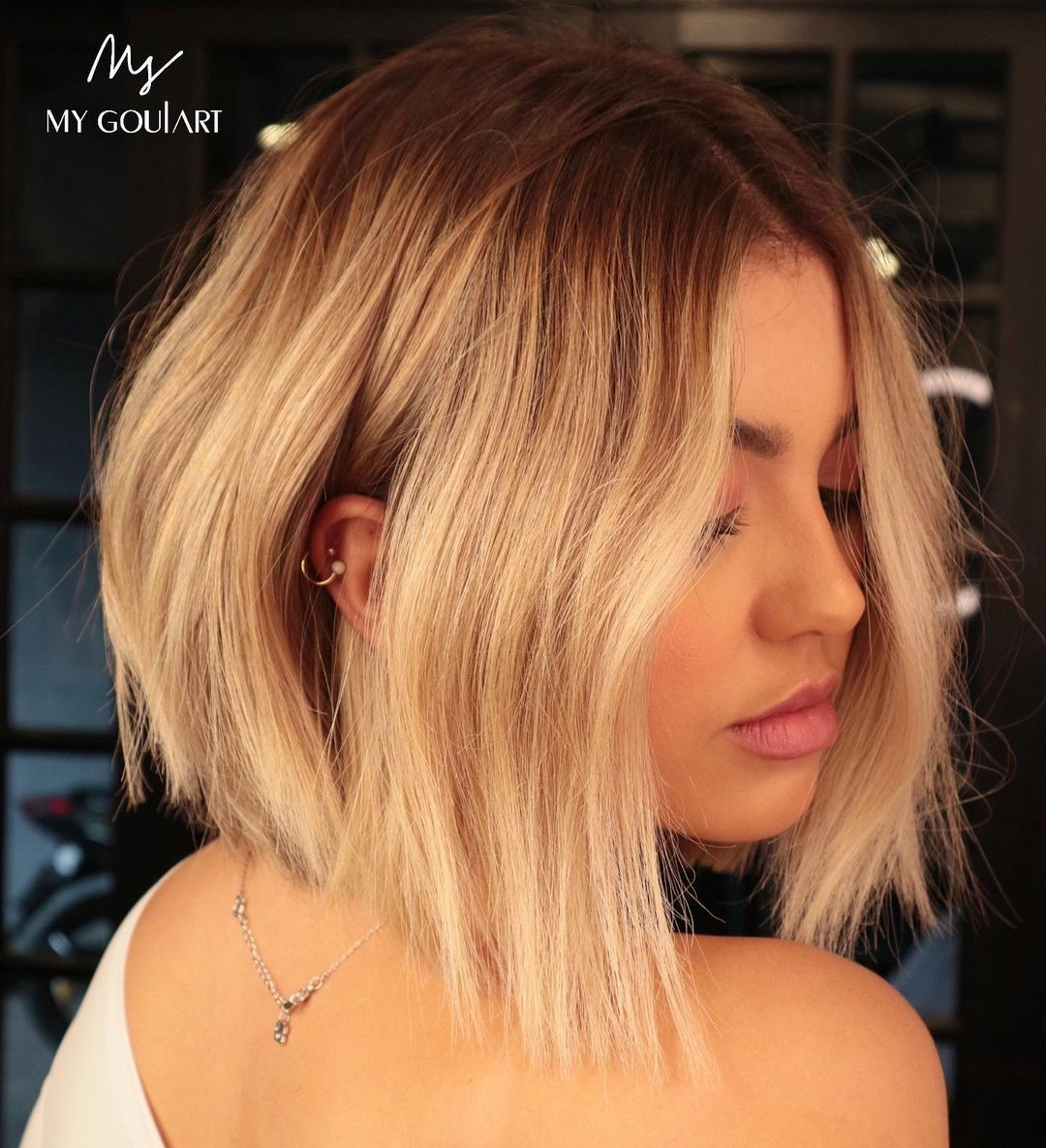 Short Bob with Strawberry Ombre Highlights