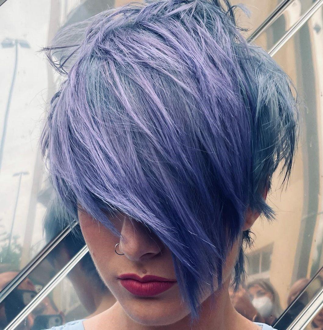 Purple and Blue Asymmetrical Pixie