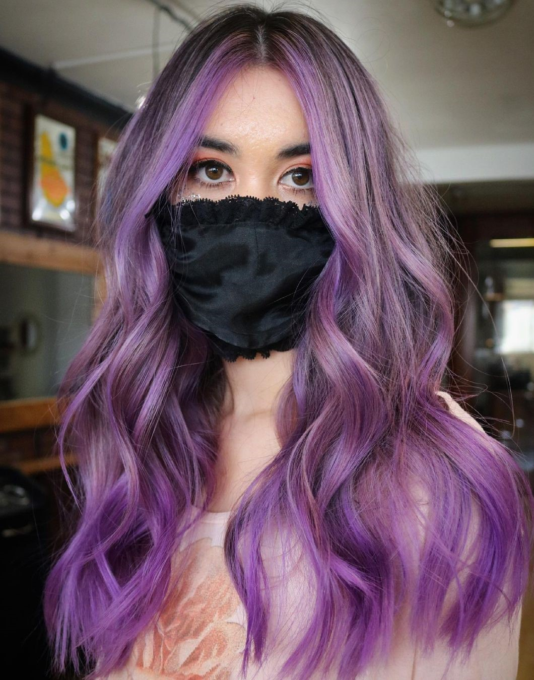 Natural Brown Hair with Violet Highlights