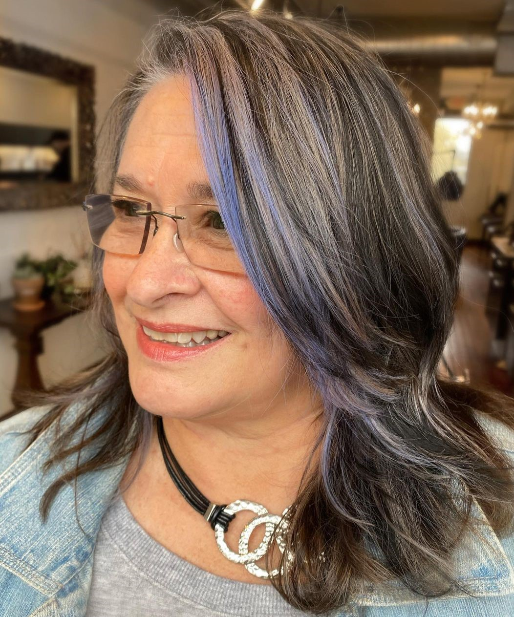 Over 50 Midi Gray Hairstyle with Glasses