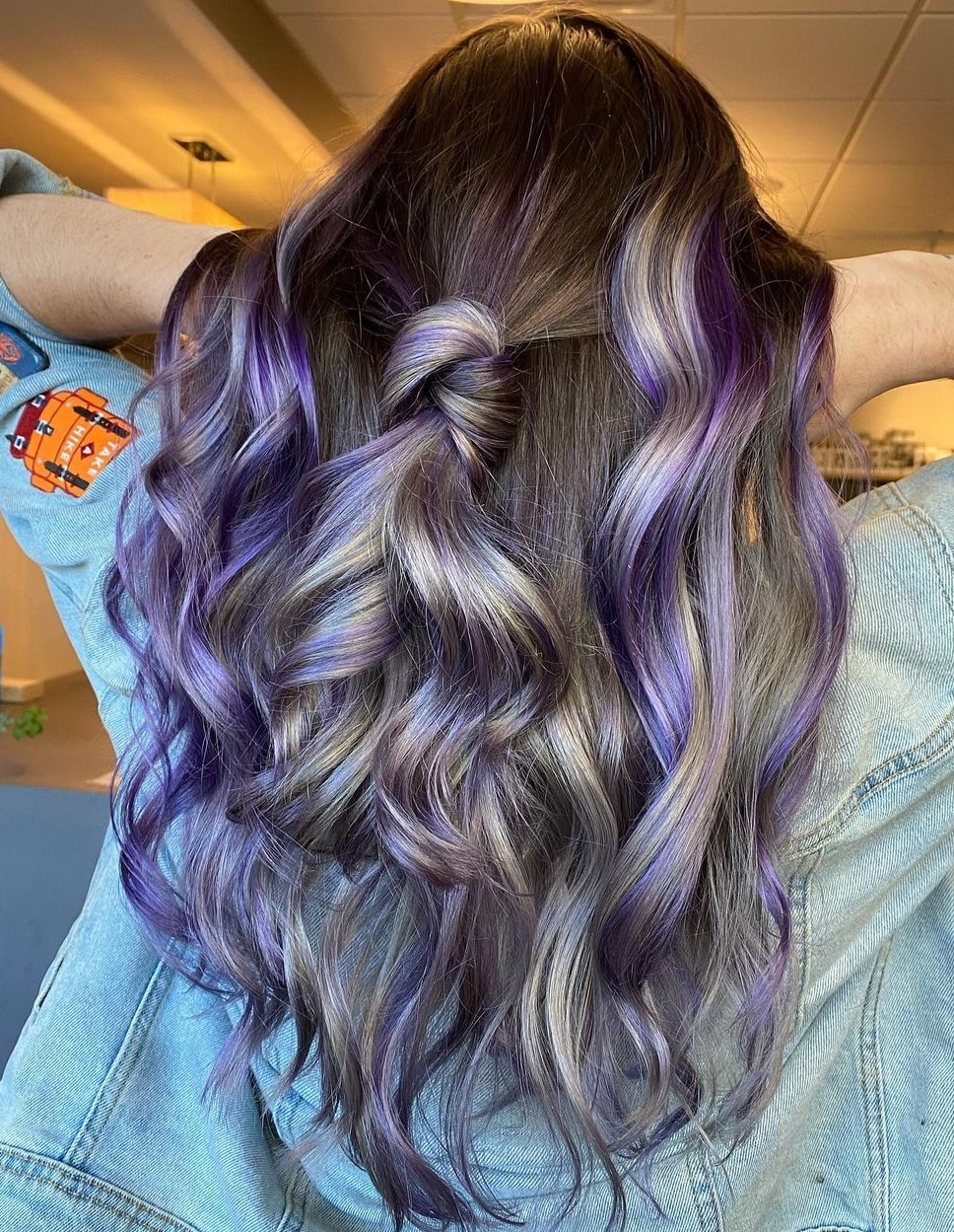 Classy Brunette Hair with Purple Highlights
