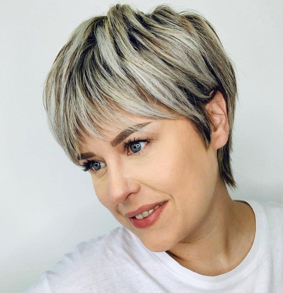 Blonde and Silver Short Hair Highlights