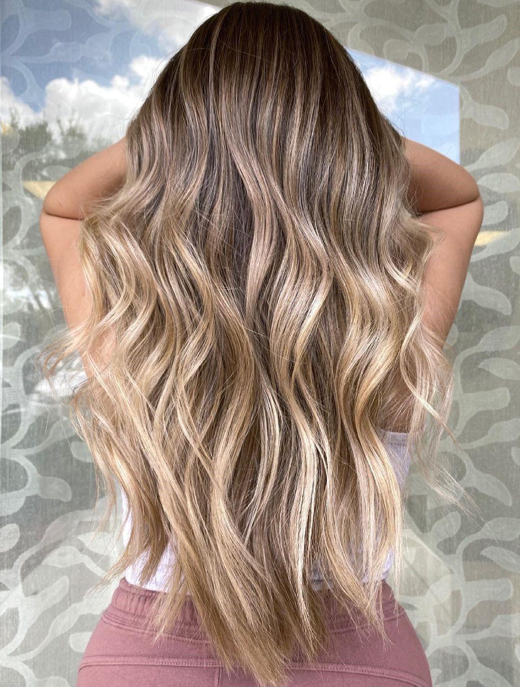 Sun-Kissed V-Haircut with Beach Waves
