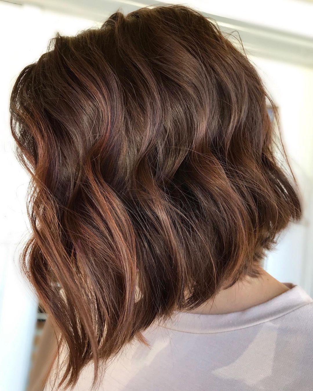 Short Brown Beach Hair with Highlights
