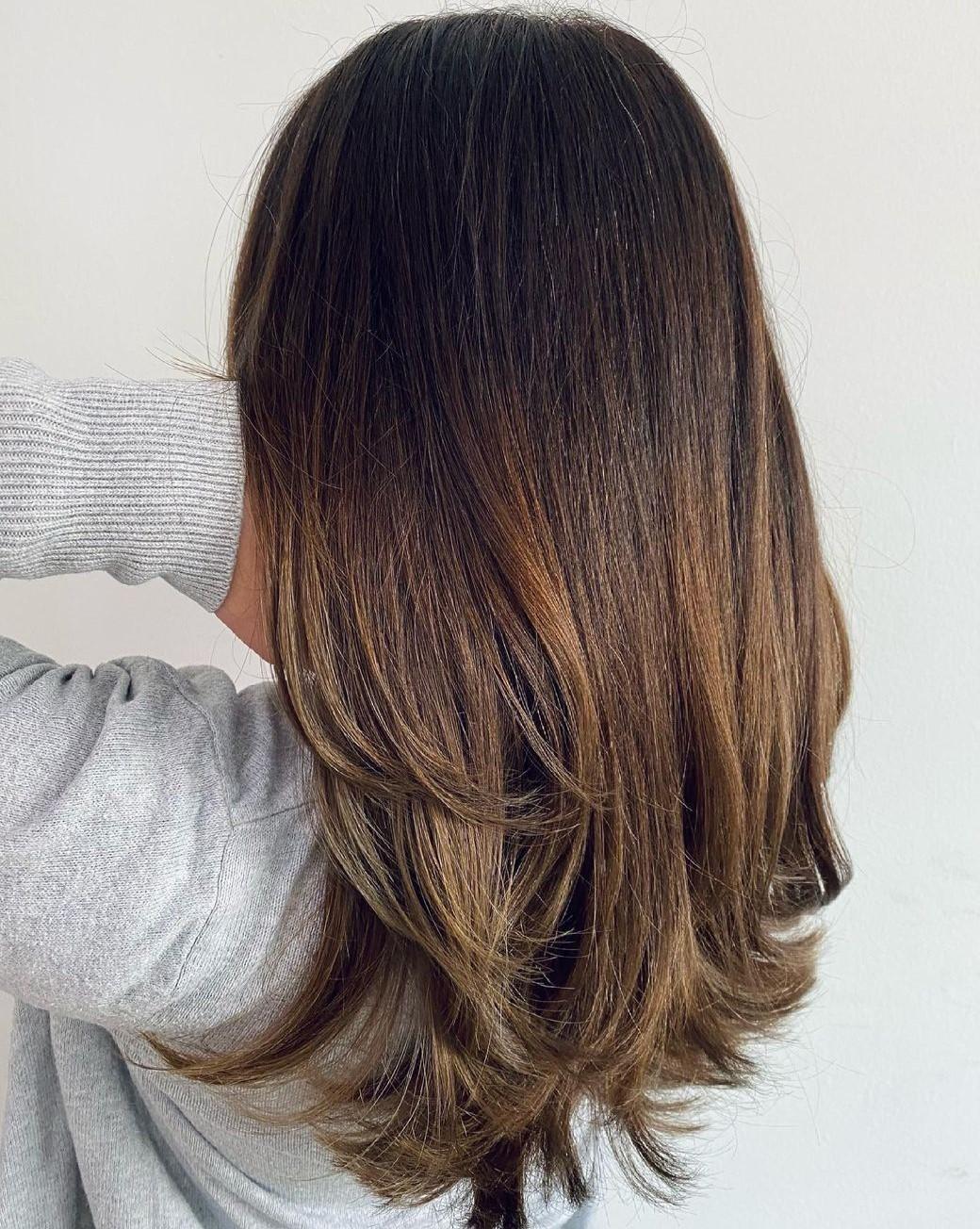 Mushroom Brown Hair with Honey Highlights