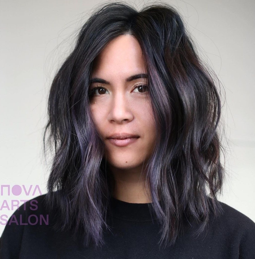 Black Hair with Lilac Highlights