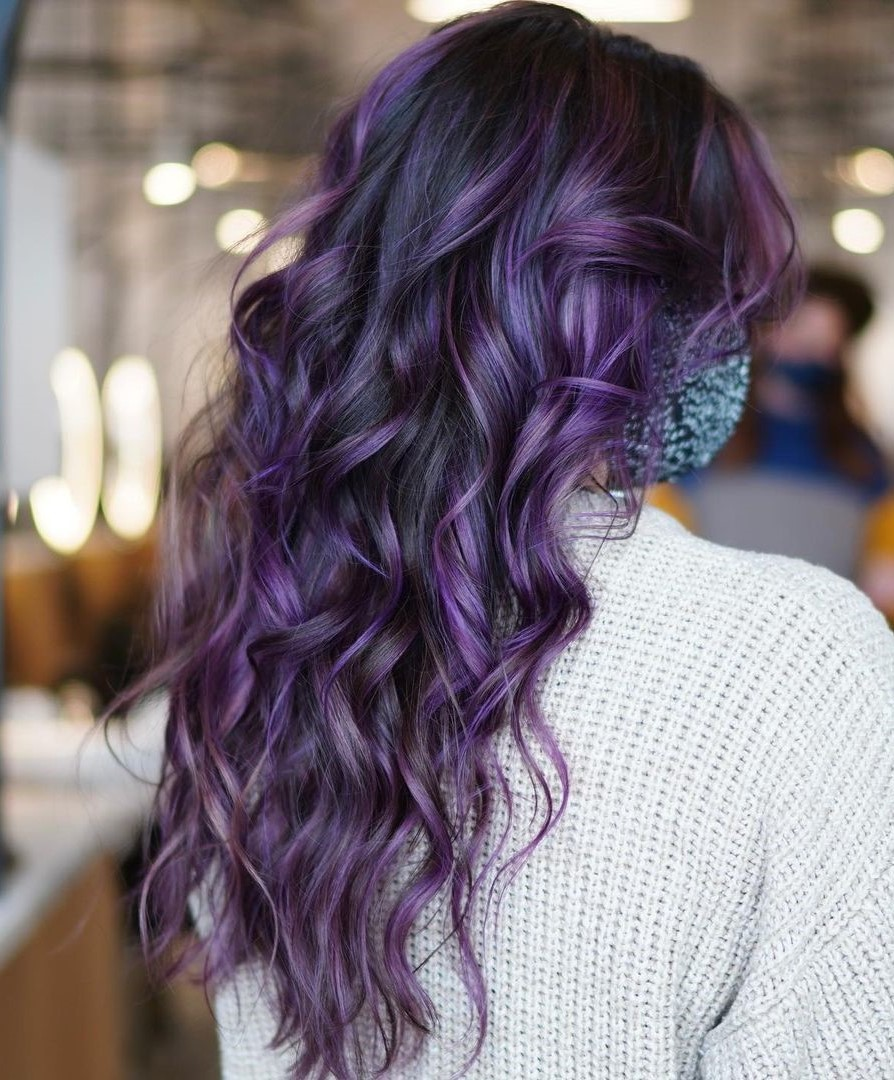 Purple Highlights Curly Hair
