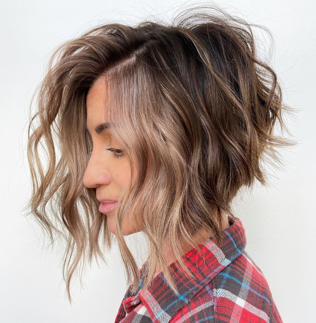 Short Stacked Bob with Highlights