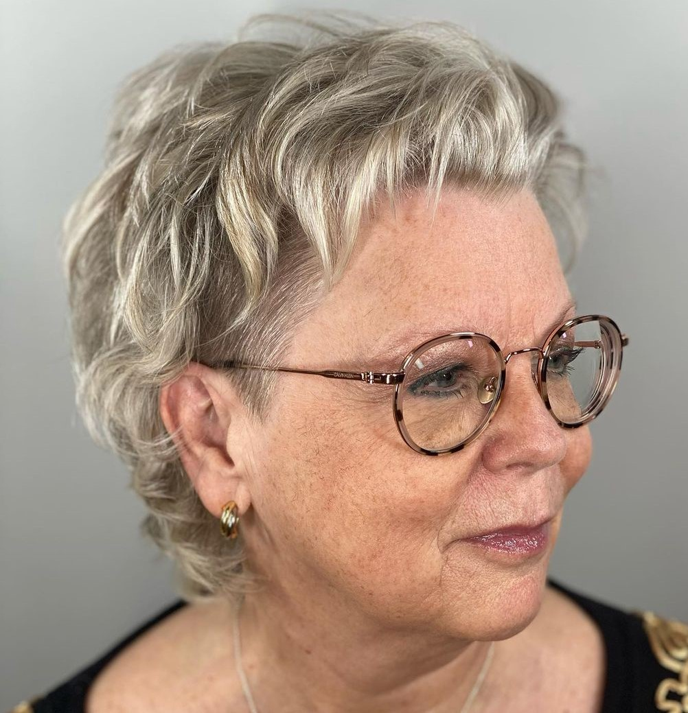 Over 50 Short Cut for a Round Face and Glasses