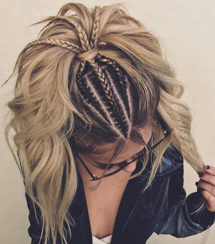 Chic Blonde Ponytail with Braids