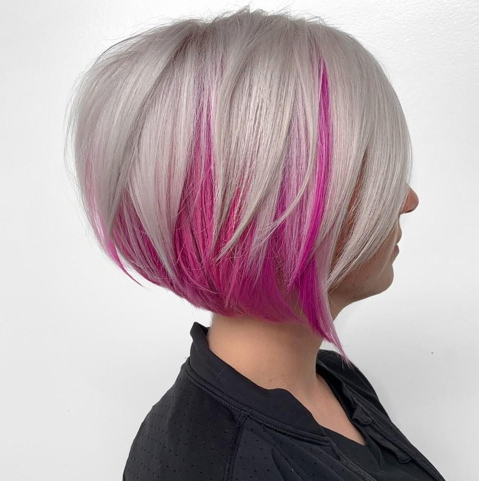 Blonde Bob with a Pink Underlayer
