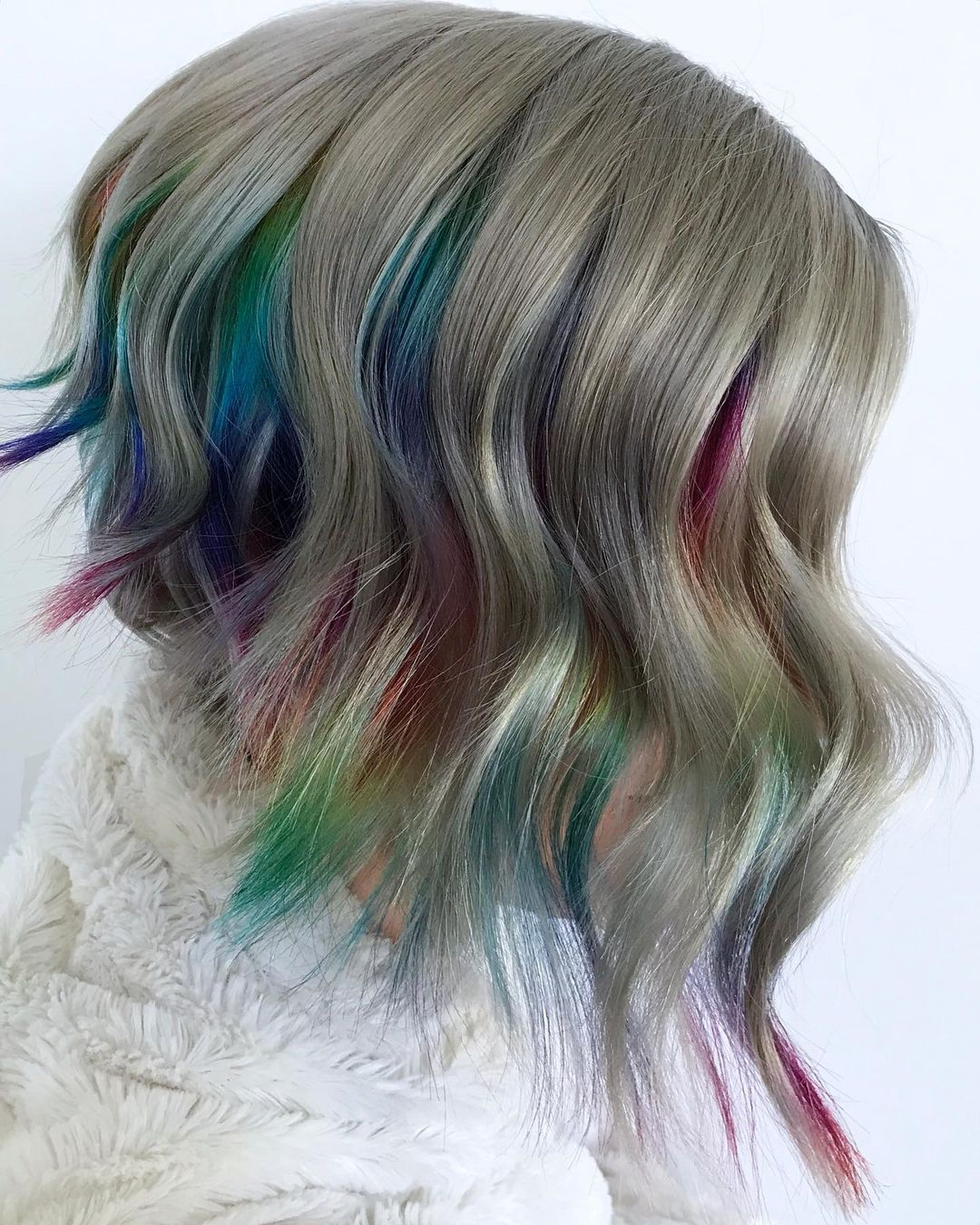 Short Rainbow Peek-a-Boo Hair