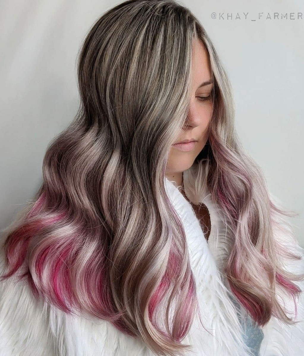 Blonde Highlights and Pink Bottom Layer