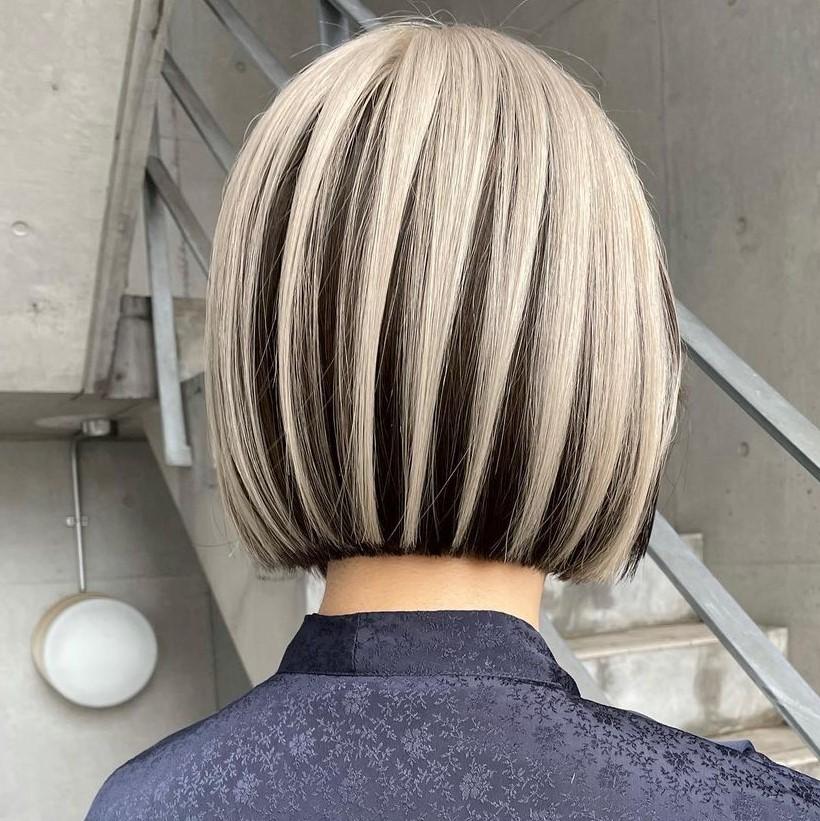 Short Blonde Hair with Peekaboo Lowlights