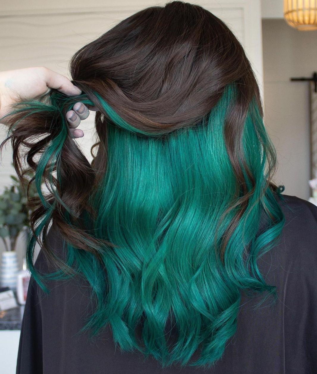 Brunette Hair with Green Peekaboo Layer