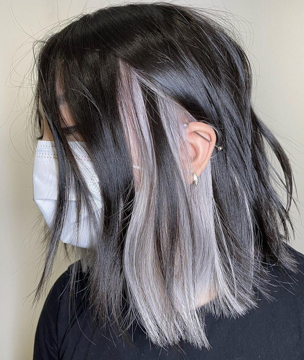 Dark Hair with Silver Peekaboo Highlights