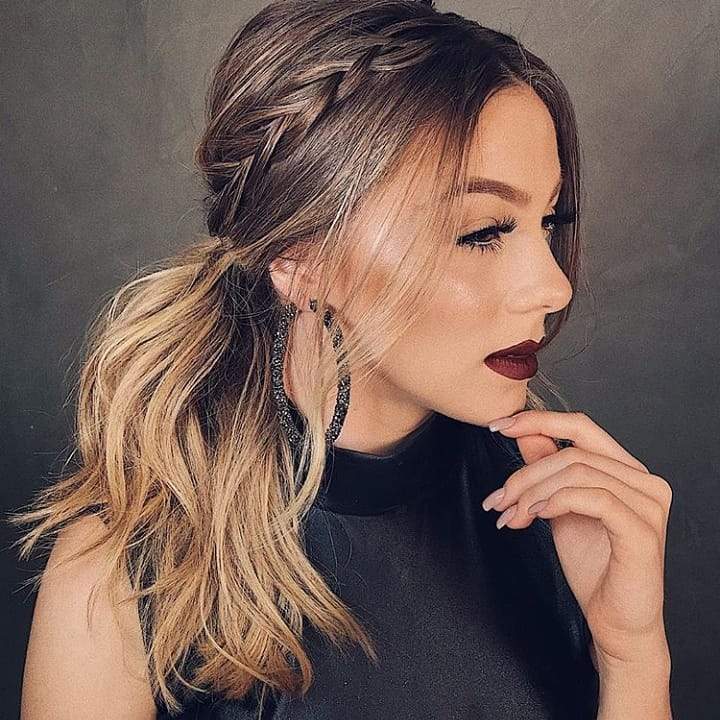 Simple Messy Ponytail with a Braid